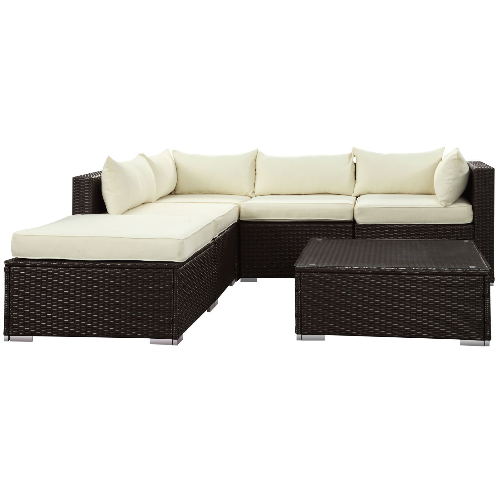 lexmod monterey outdoor wicker rattan sectional sofa set white overstuffed hampton patio eei 975 exp whi by