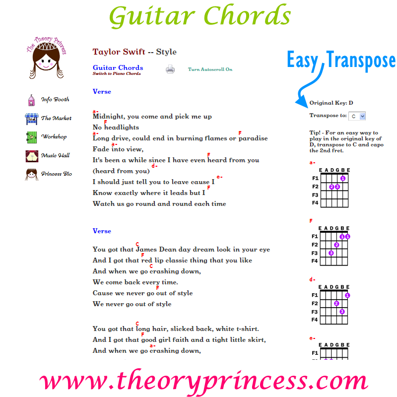 Guitar Chords And Easy Transpose Option For Style By Taylor Swift