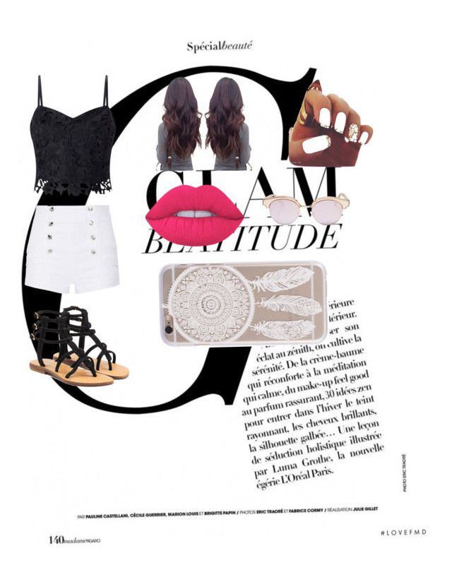 """""""Matte mood"""" by nahlvagher on Polyvore featuring Lipsy, Pierre Balmain, Mystique, Lime Crime and Le Specs"""