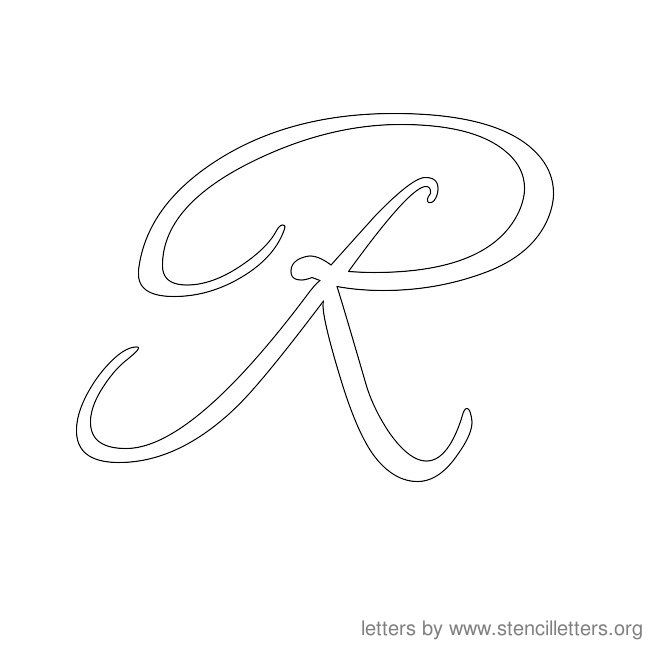 cursive letter stencils r