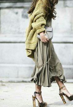 Wow.. Love the hues in this... The drapey skirt is to die for and the shoes are incredible!!!