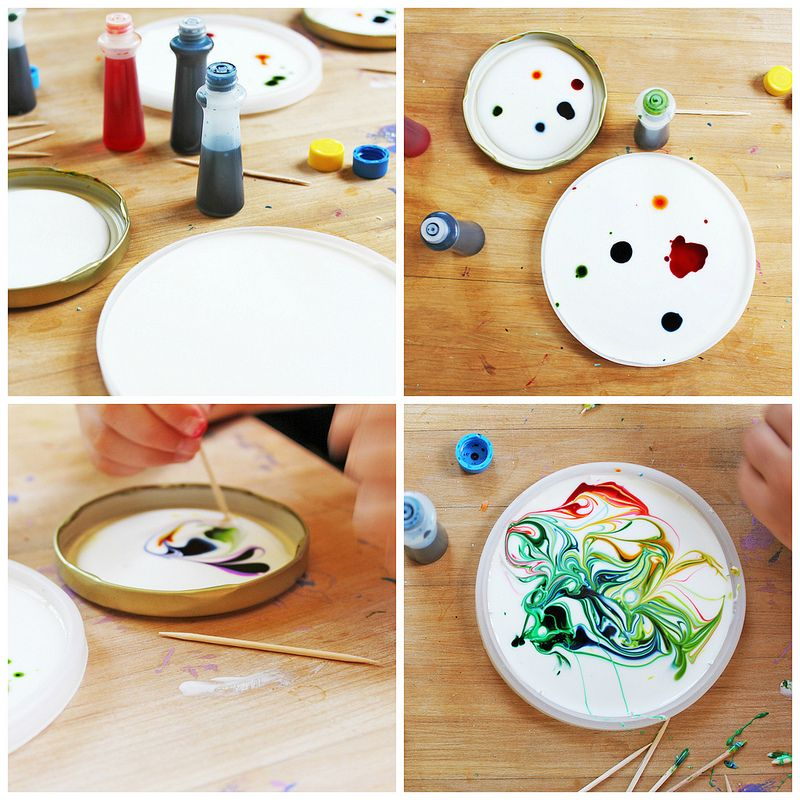 Art For Kids Cosmic Suncatchers Materials White Glue Food Coloring Toothpicks Plastic Lids