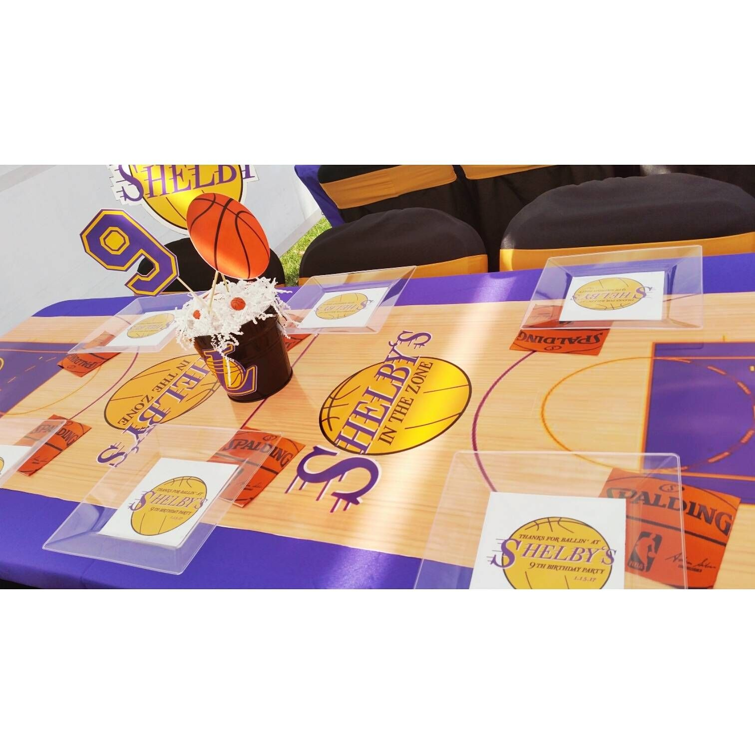 Shelby's Laker Party Basketball themed birthday party