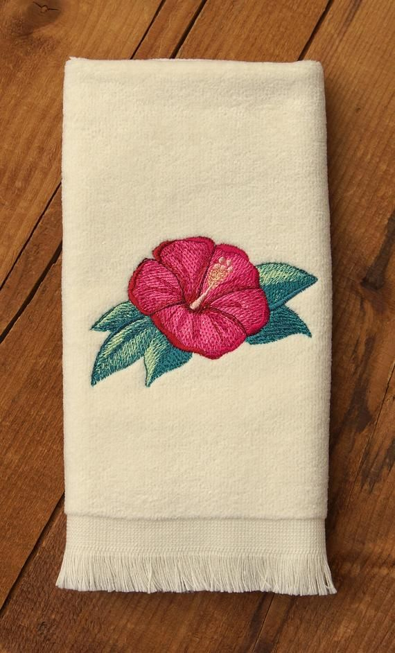 Embroidered Towels Hibiscus Embroidered Hand Towel Or Fingertip