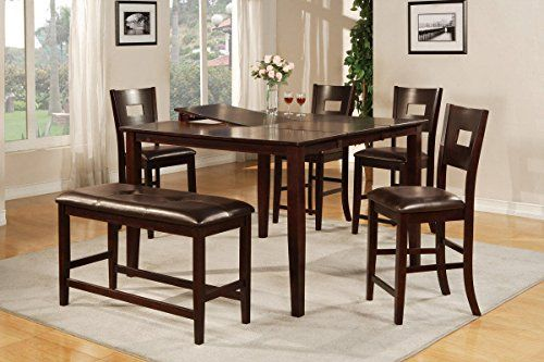 Poundex F2335 F1135 Dark Brown Finish W Black Vinyl Counter Height Dining Set With Images Counter Height Dining Table Counter Height Dining Sets Dining Table