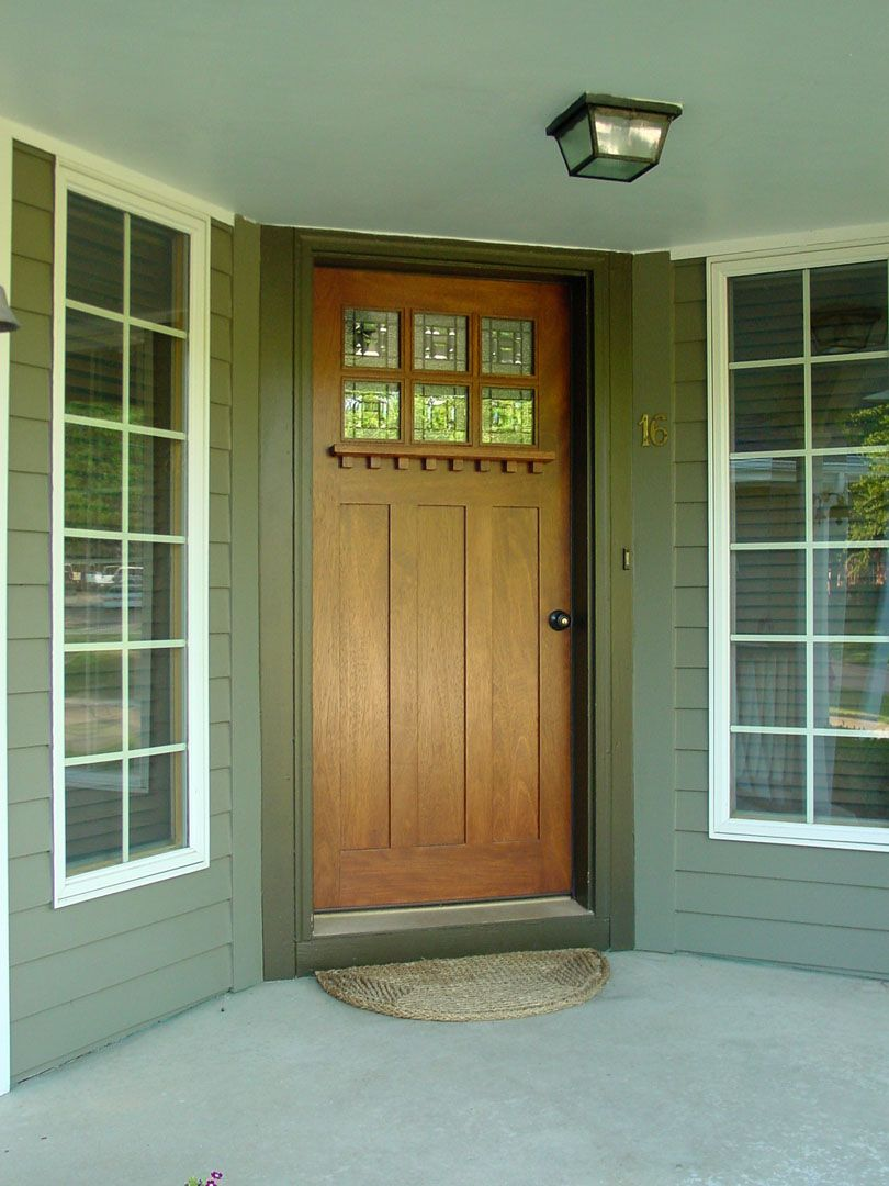 ... Of Front Porch Decoration Using Grey Wood Siding Front Porch Wall  Including Single Solid Oak Wood Glass Panel Entry Door And Craftsman Style  Molding