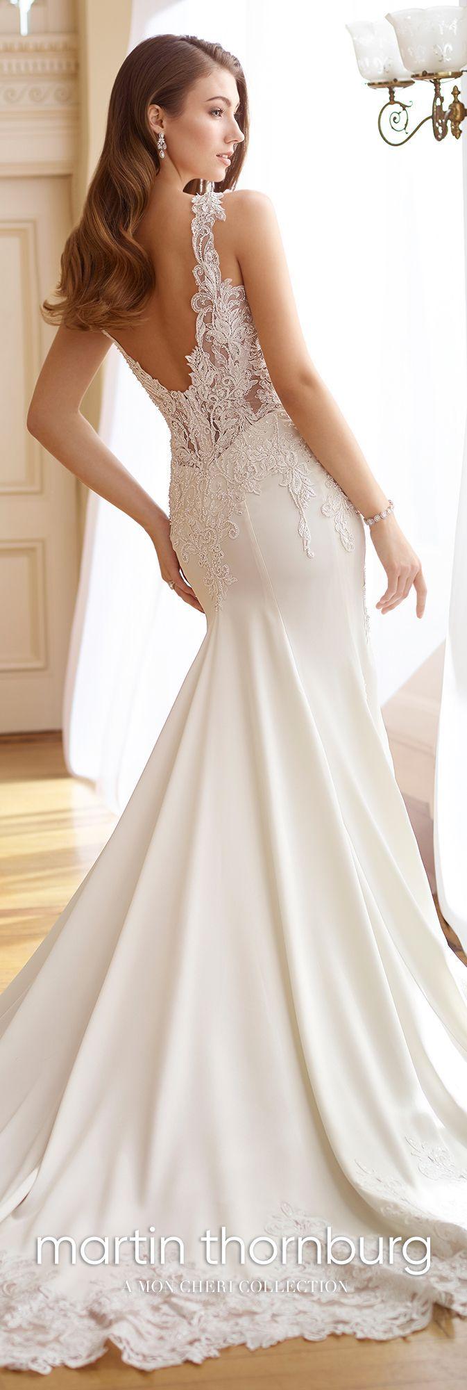 Belles wedding dress  Martin Thornburg  Frances  Lace bodice stretch satin wedding