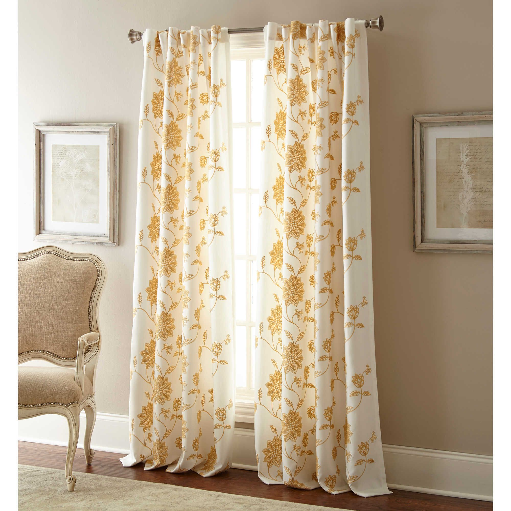 Window ideas for family room  jaylynn inch rod pocket embroidered window curtain panel in gold
