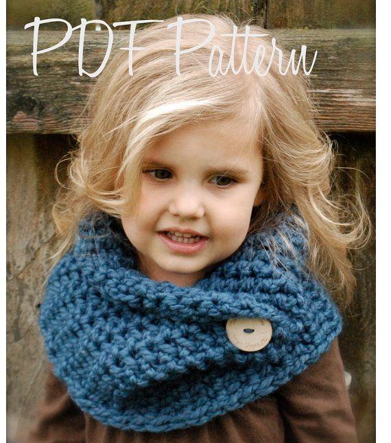 Crochet Cowl (bufanda de cuello con botón) | cuello bufandas ...