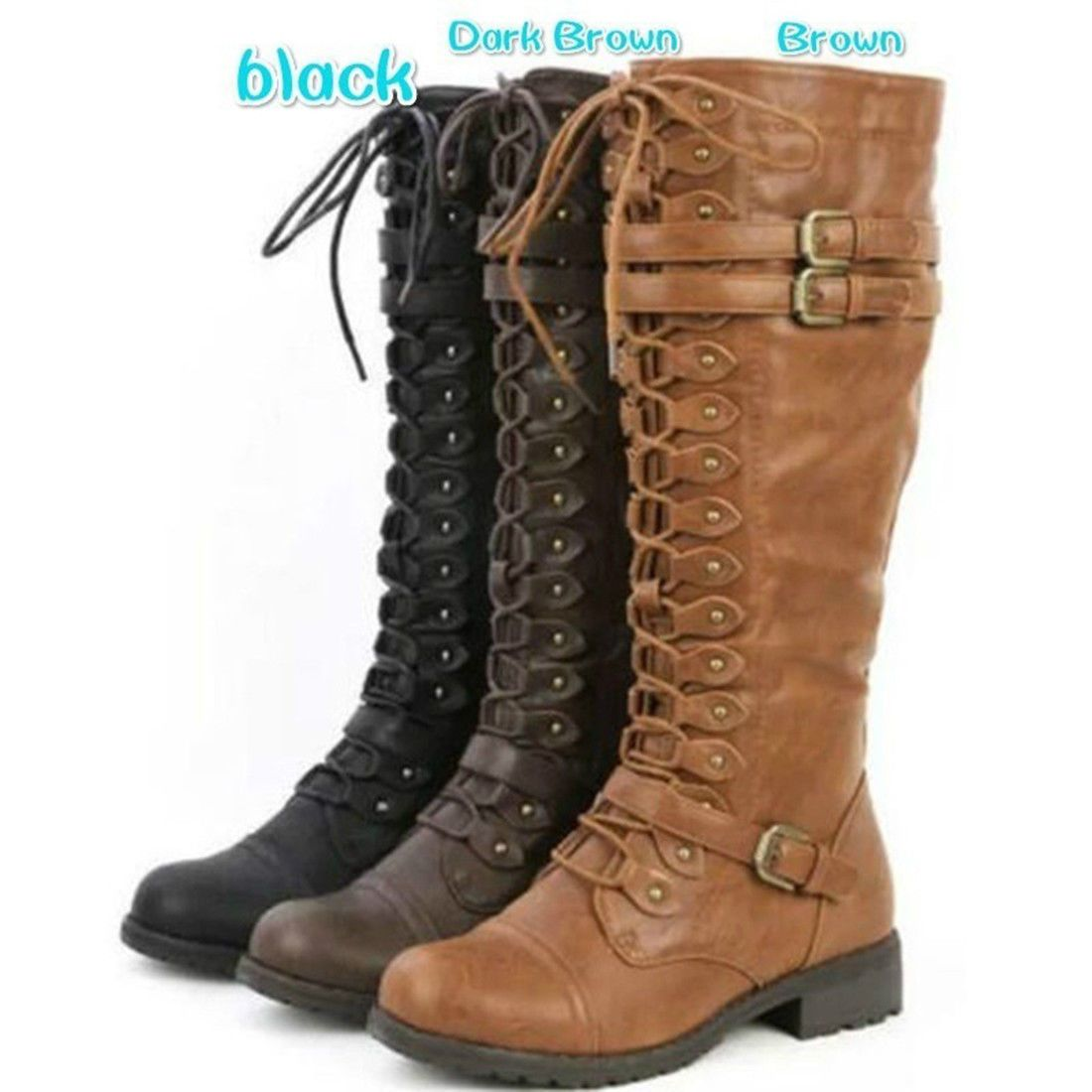 f5875f90c74 3 Colors Womens Knee High Buckle Fashion Military Combat Boots Winter Snow  Boots