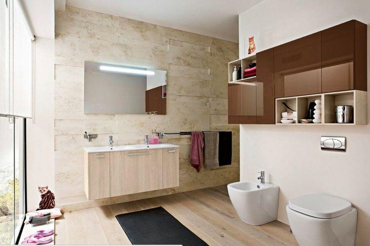 Badezimmer Bilder Stein Fliesen Holz Hochglanz Braun Schrank Bad    Badezimmer Beige Braun