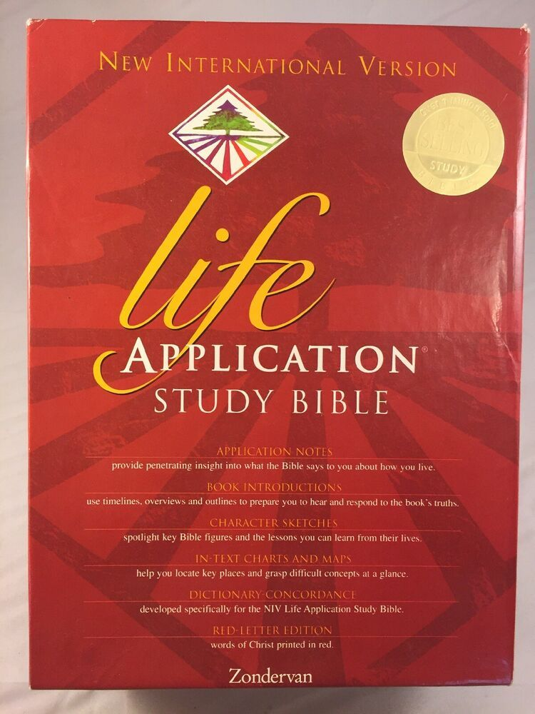 NIV Life Application Study Bible Burgundy Leather Red