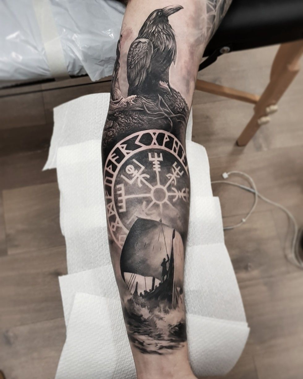 Vikings ravens Scandinavian tattoo, Viking tattoo sleeve