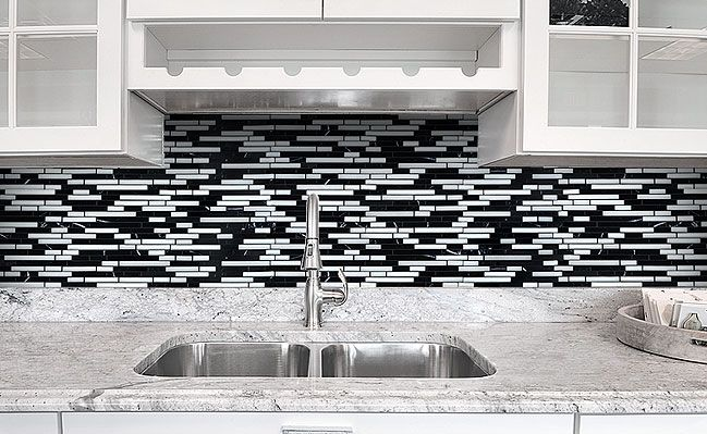 Black Gray and White Backsplash Tile - Backsplash.com | Kitchen ...
