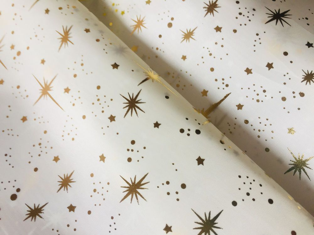 BLACK Silk Taffeta Fabric Material Sparkling GOLD Stars Foil Tafeta 150cm wide