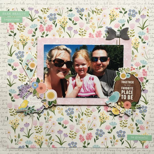 Scrapbook Layout Using Pebbles Inc Tealightful Pattern Paper