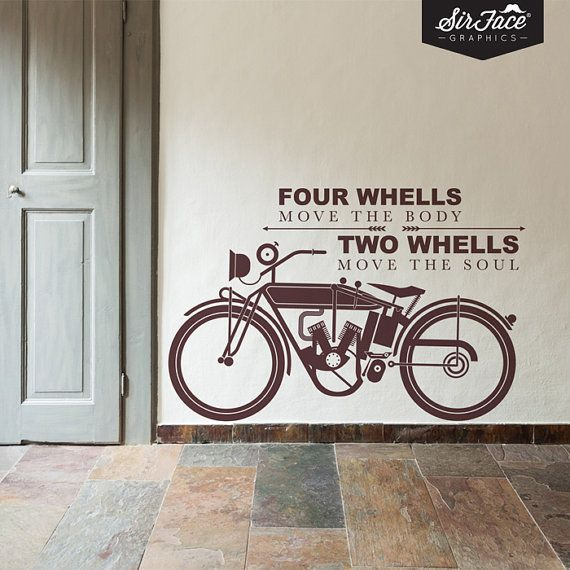Two Wheels Wall Decal Words Wall Sticker By SirFaceGraphics - Classic motorcycle custom stickers