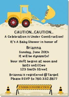 Construction Truck Baby Shower Invitations Truck Baby Shower Truck Baby Shower Theme Truck Baby Shower Invitations