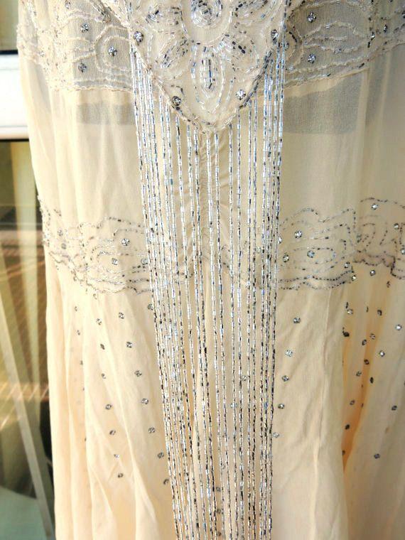 Tru Vintage Genuine 1920s Sheer Cream Silver Rhinestone  Beaded Flapper  Dress