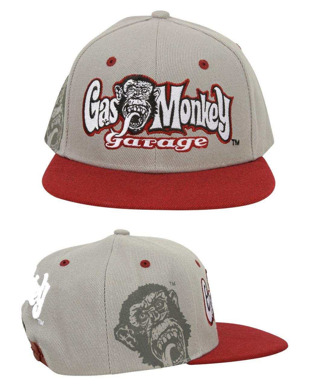 Rr Hands Gas Monkey Garage Snap Back Cap Grey Rr Hands Grey Snap Back Cap With Contrasting Burgundy Peak And Embroid Gas Monkey Snap Backs Gas Monkey Garage