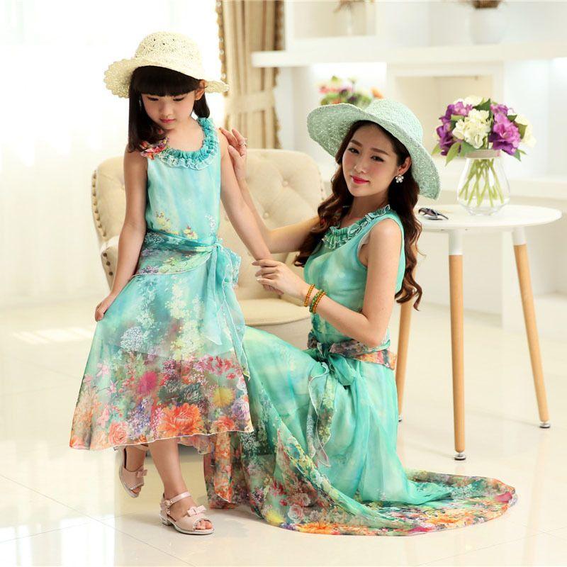 b97647081 Flower girls dress mother and daughter dress bohemian summer beach ...