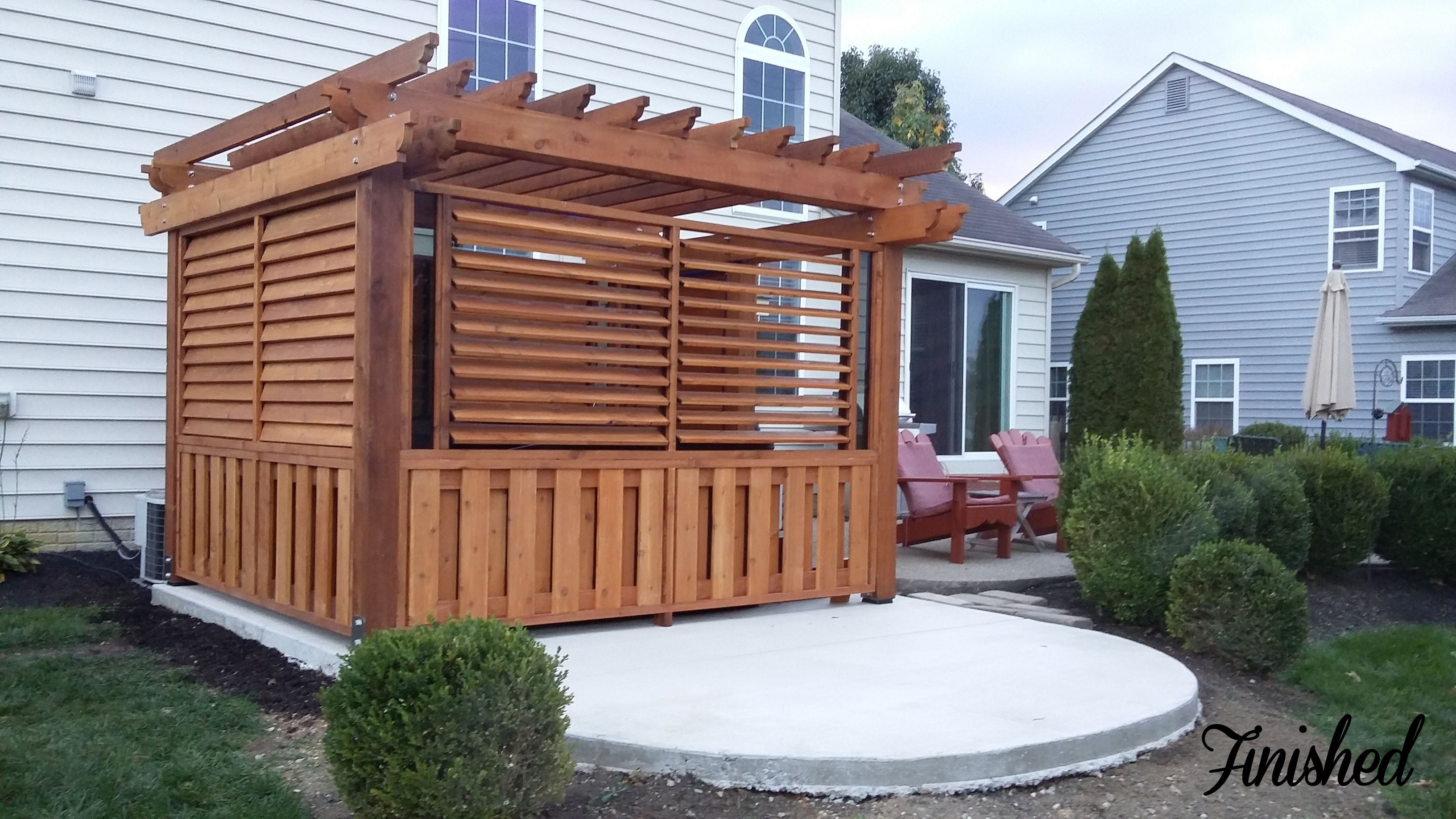 outdoor louvered spa enclosure hot tub fence deck