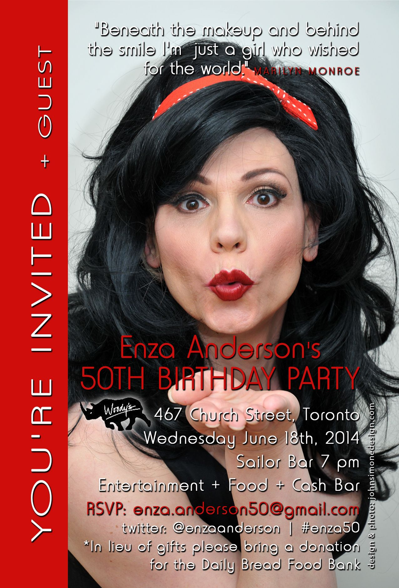 Invite for Enza Anderson's 50th Birthday party.