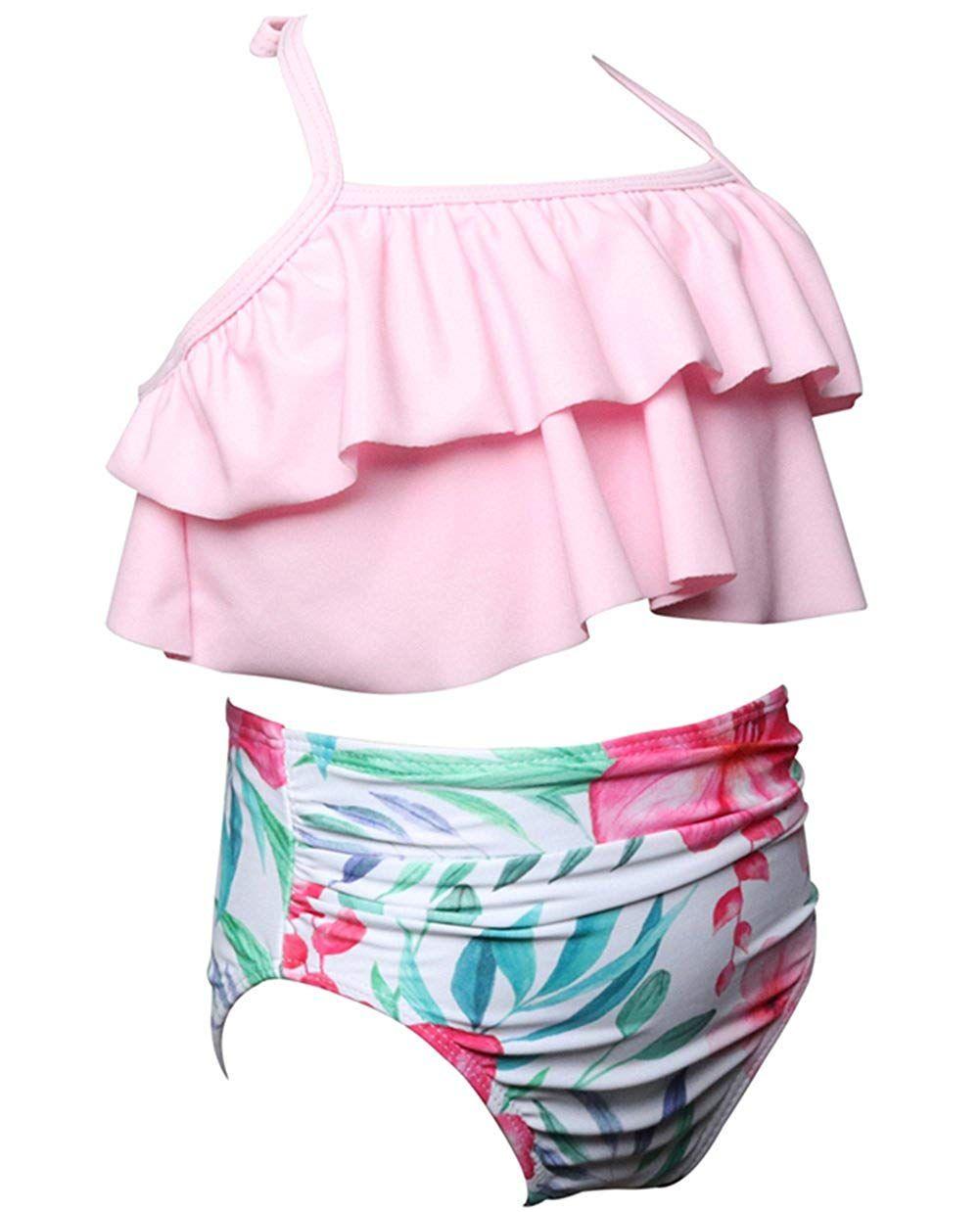 0bebdf2b11 2Pcs Mommy and Me Matching Family Swimsuit Ruffle Women Swimwear Kids  Children Toddler Bikini Bathing Suit Beachwear Sets #Ad #Ruffle,  #AFFILIATE, ...