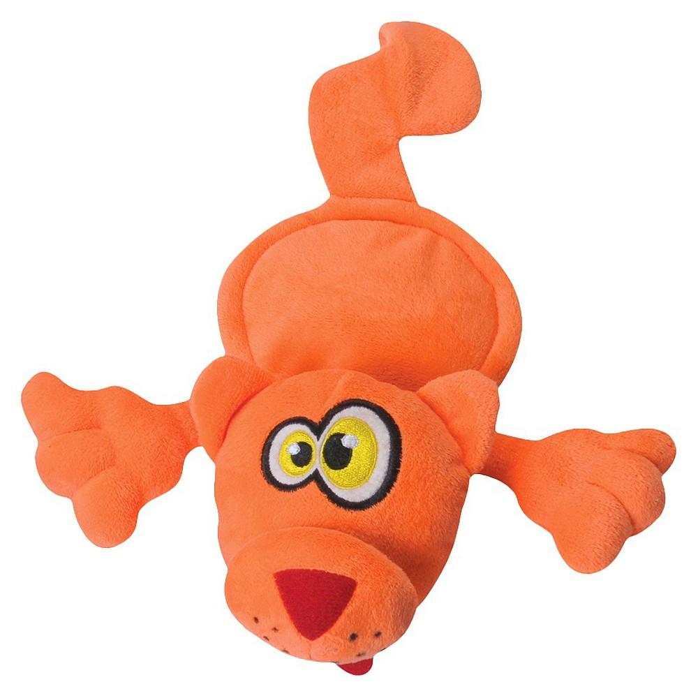 Hear Doggy Flattie Cat Silent Squeak Plush Dog Toy Orange M
