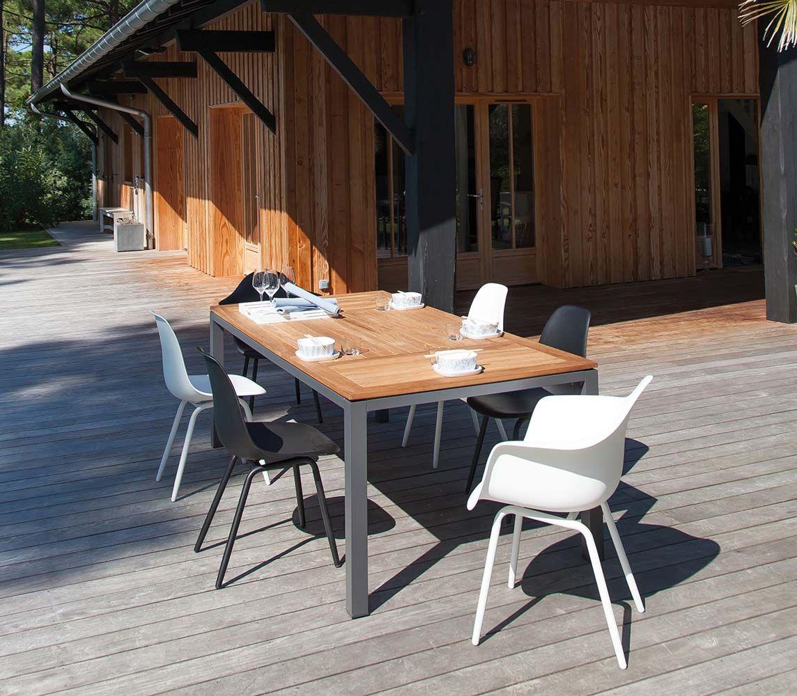 Table en aluminium et teck Tempo 180 cm - PROLOISIRS | Mobilier de ...