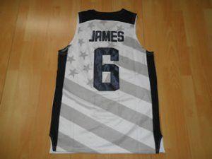 90115c7b693c 2012 London Olympics Team USA LeBron James  6 White Basketball Jersey  E971