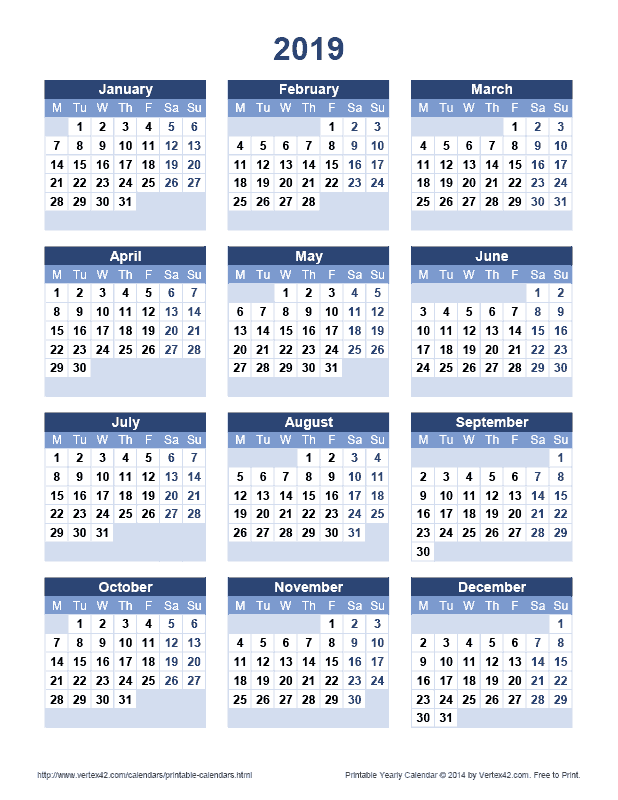 Persian Calendar 2020 Download a free Printable 2019 Yearly Calendar from Vertex42.