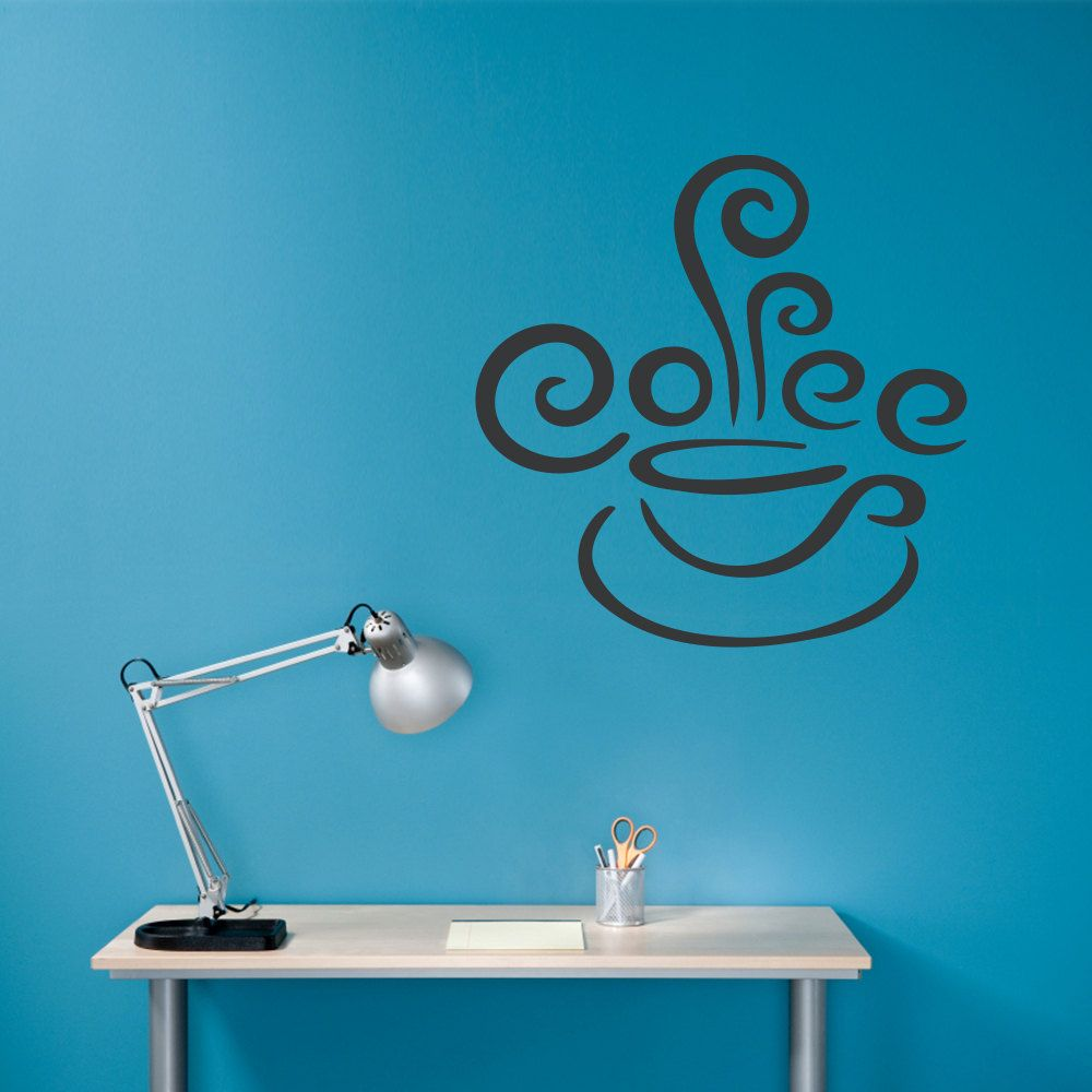 Coffee Wall Decal - Coffee Cup with Steam Vinyl Wall Art. $16.50 ...
