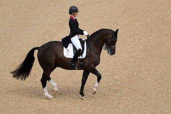 Charlotte Dujardin of Great Britain riding Valegro competes in the Mens/Womens…