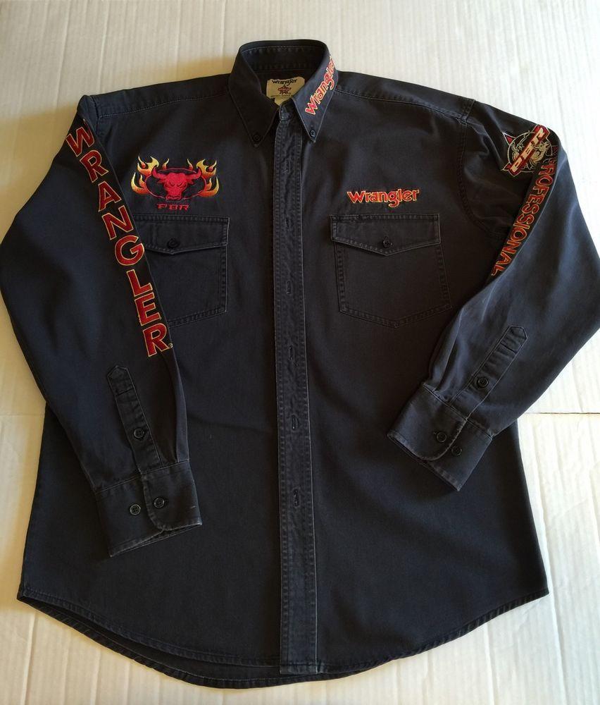 Wrangler PBR Professional Bull Riders Black Long Sleeve Shirt Medium | eBay