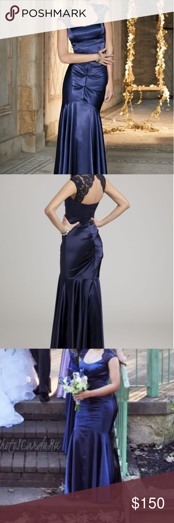 Stretch satin long dress with open lace back prom camilla strech