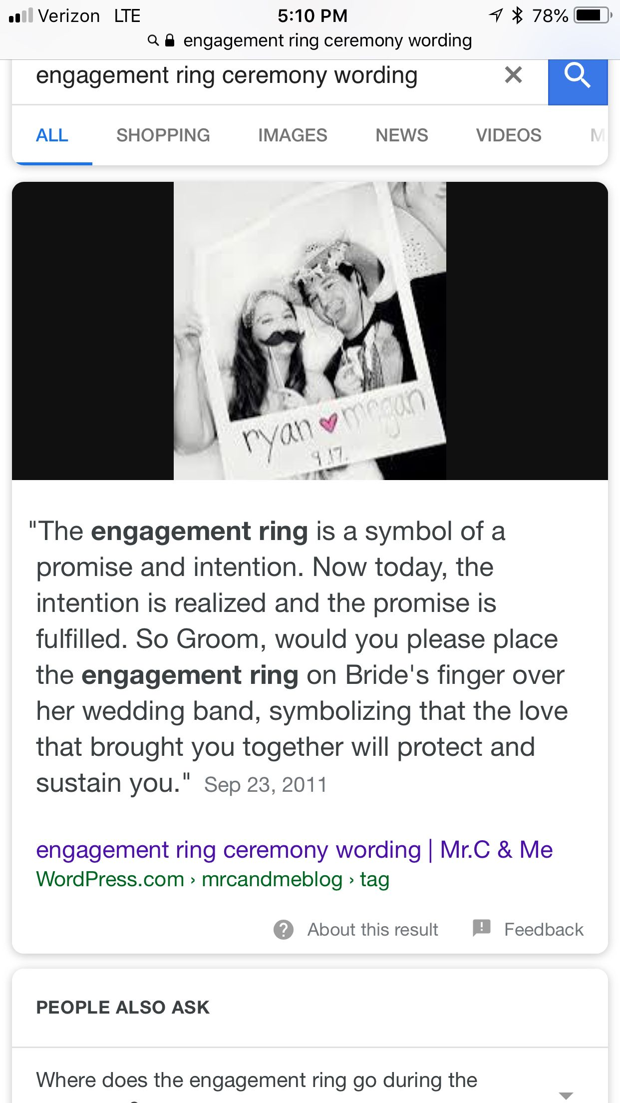 Engagement ring ceremony wording Rings ceremony, Words
