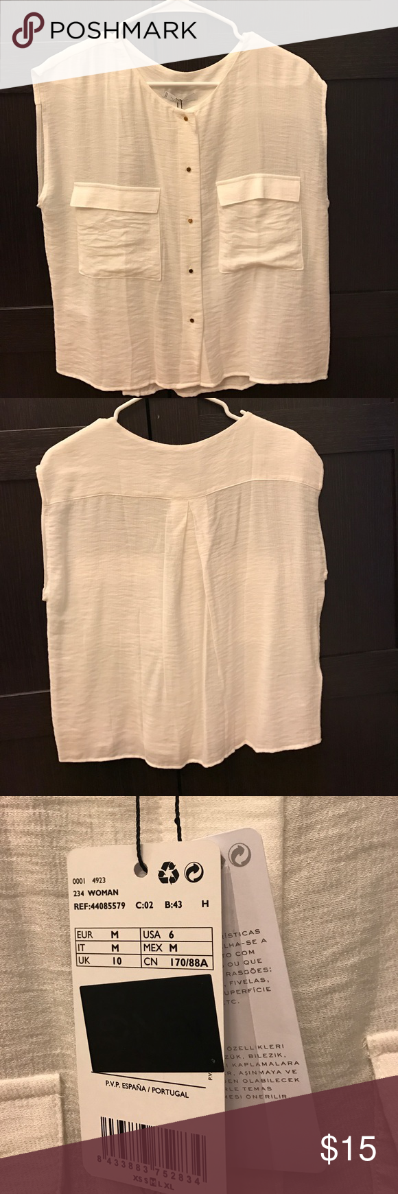 Mango MNG Suit Collection gauzey sleeveless blouse Lightweight sleeveless top from Mango MNG. Perfect for summer. Tiny gold buttons, two front pockets. New with tags. Mango Tops Blouses