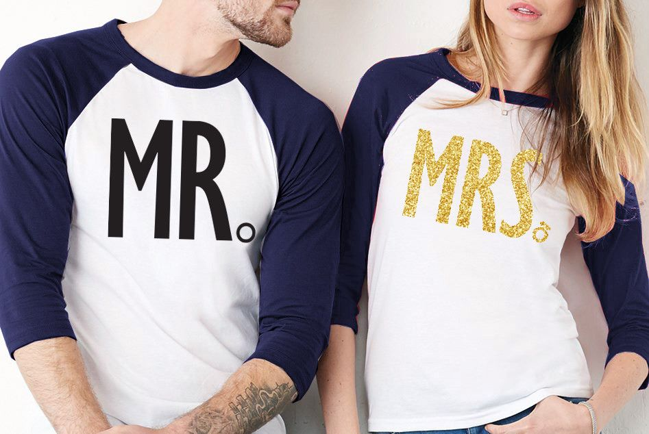 """MRS"" Baseball Tee with Gold Glitter Print & ""MR"" Baseball Tee with Black Print - SPECIAL DEAL Perfect for Wedding Events or the Honeymoon! PICK COLOR: - Black with White - Navy with White Unisex Size"