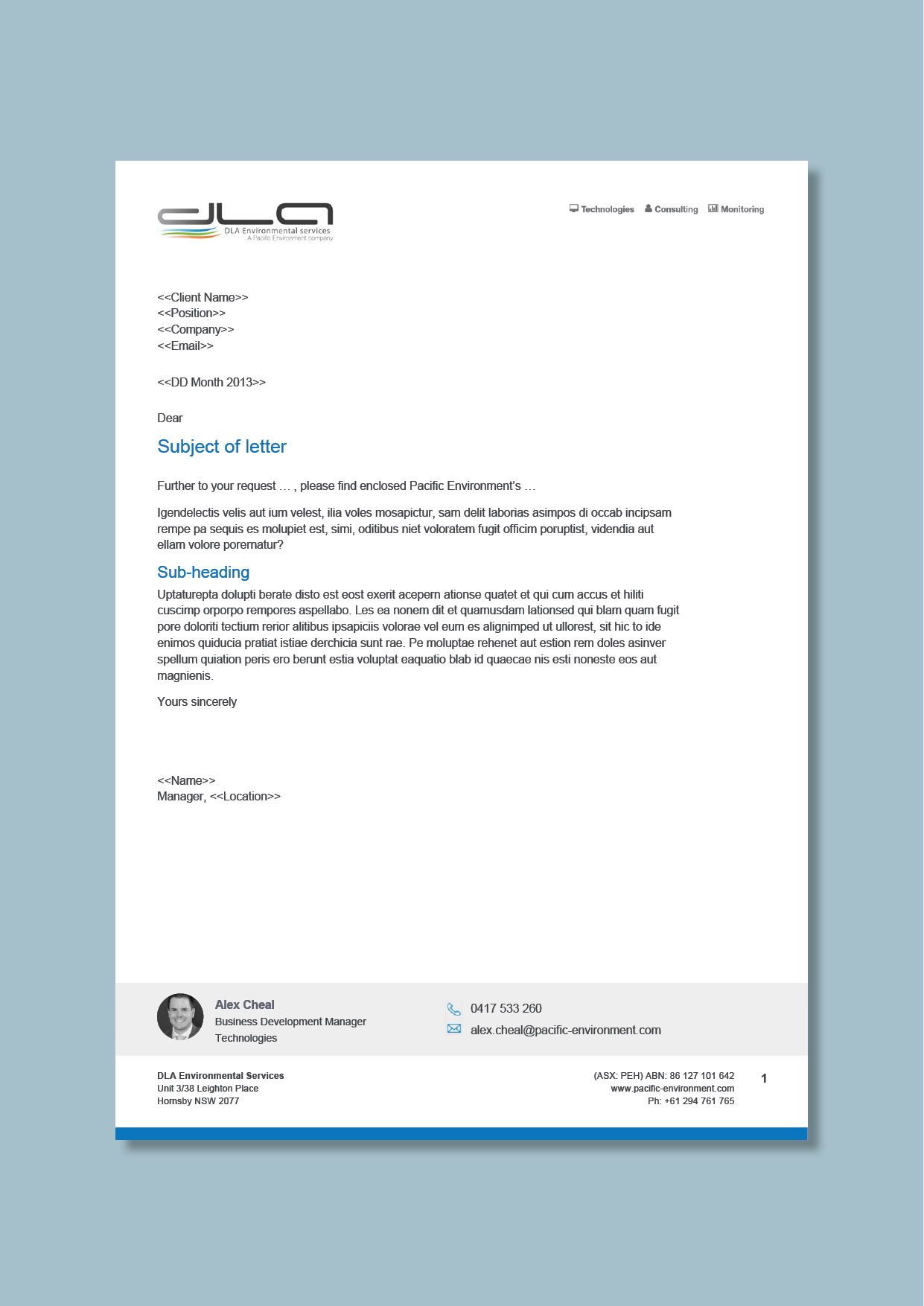 environmental consultancy letterhead with consultant