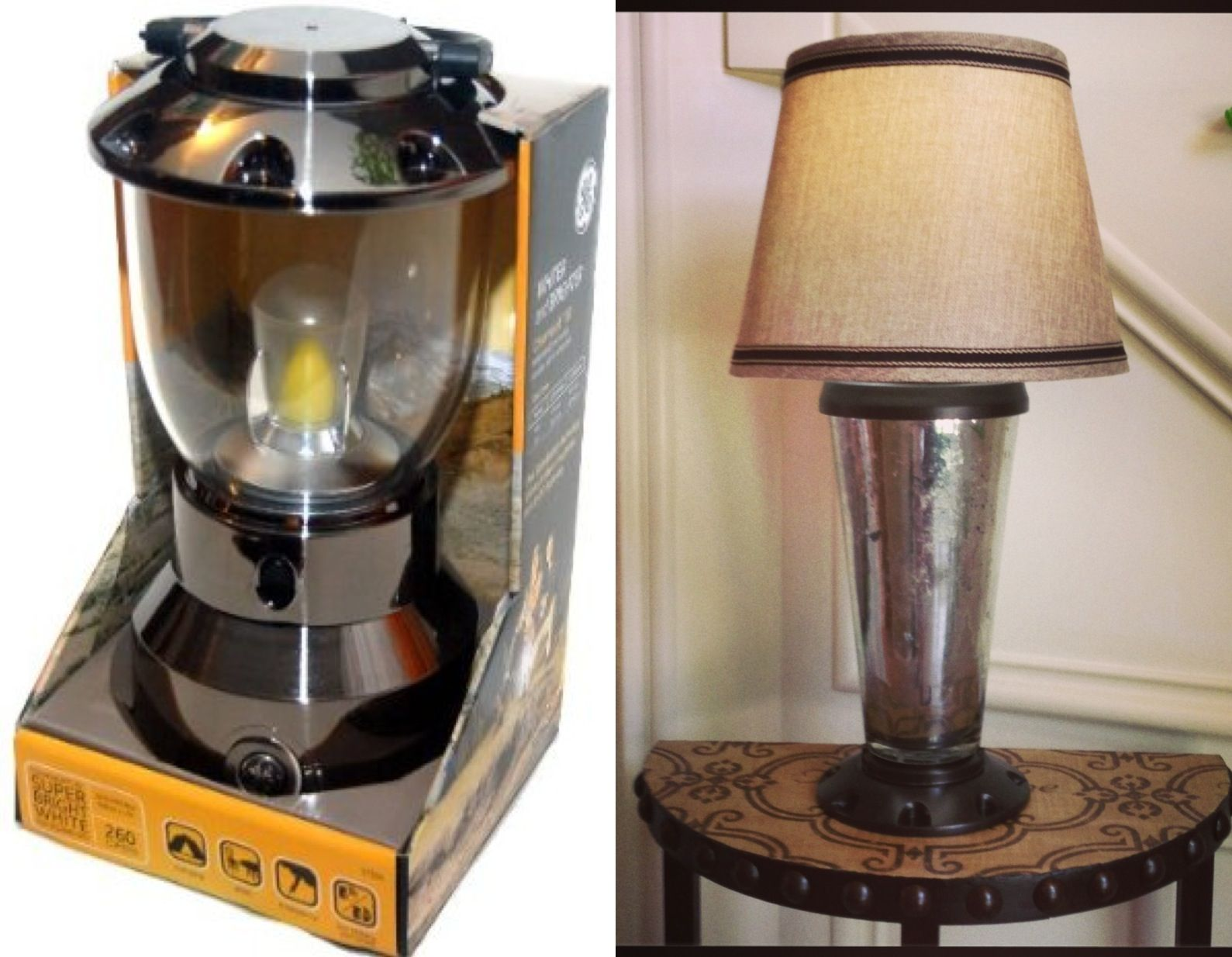 Cordless Mercury Glass Table Lamp Made From Battery