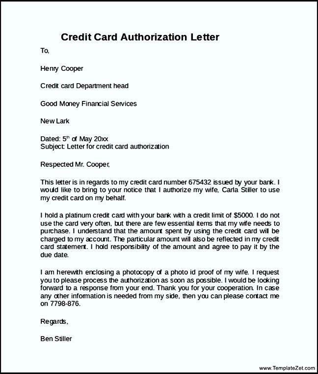 letter for closing credit card simple authorization sample notice - letter of authorization letter