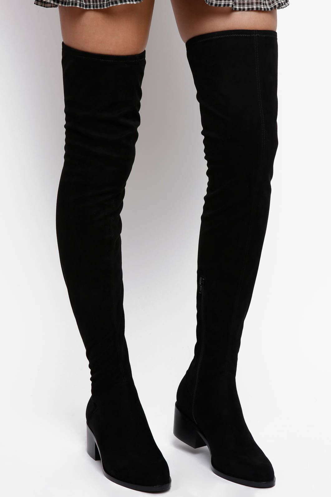 2e868f9b242 Steve Madden Gabbie Over The Knee Boot With Stacked Heel in BLACK