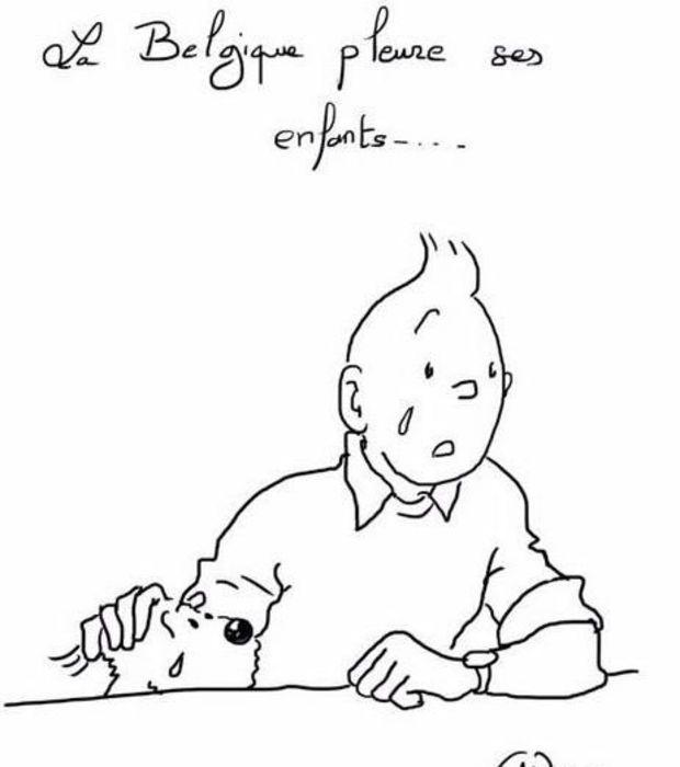 Tintin et Milou pleurent les victimes des attentats de Bruxelles