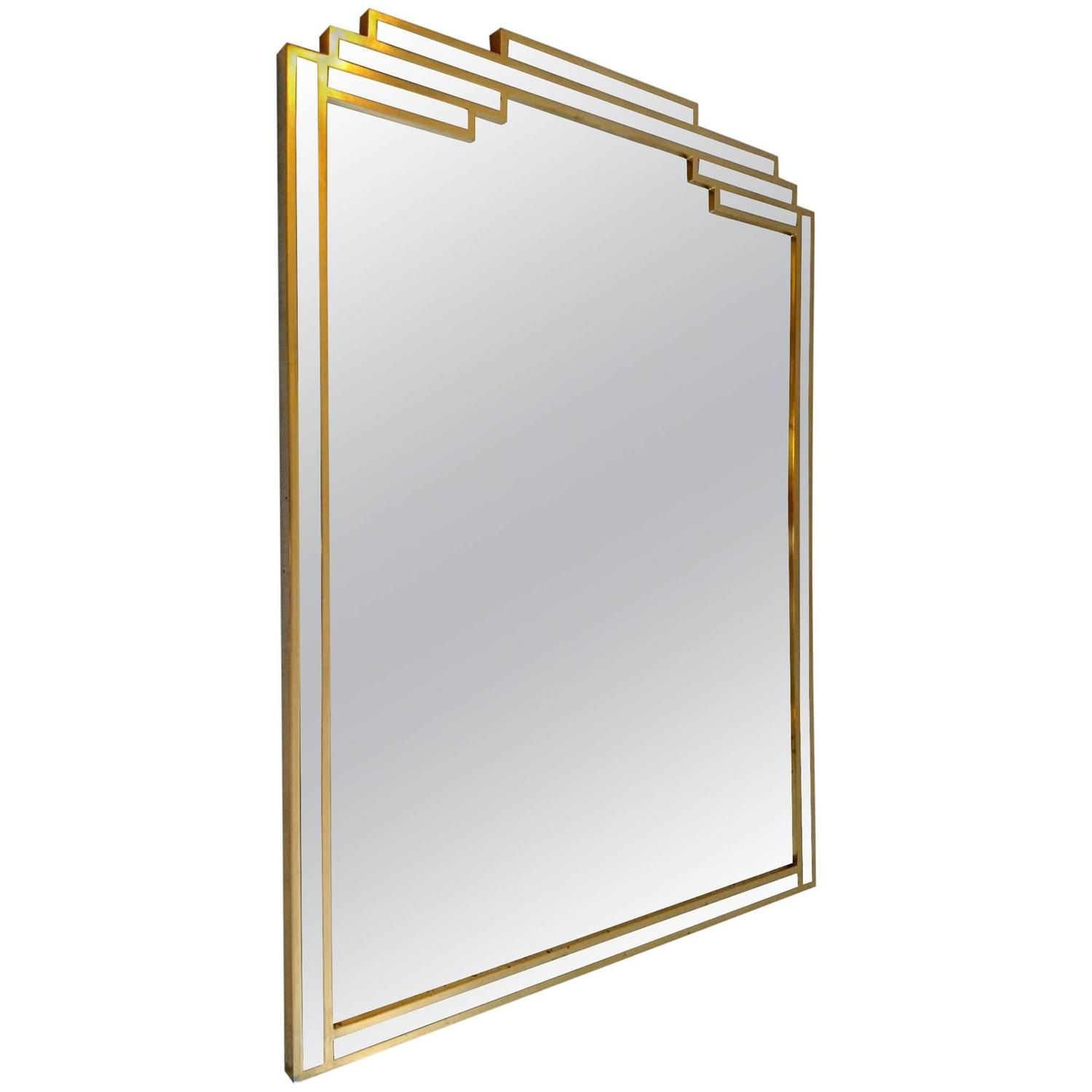Art Deco Style Mirror Large Art Deco Style Mirror In Gilded Wood Made In Belgium