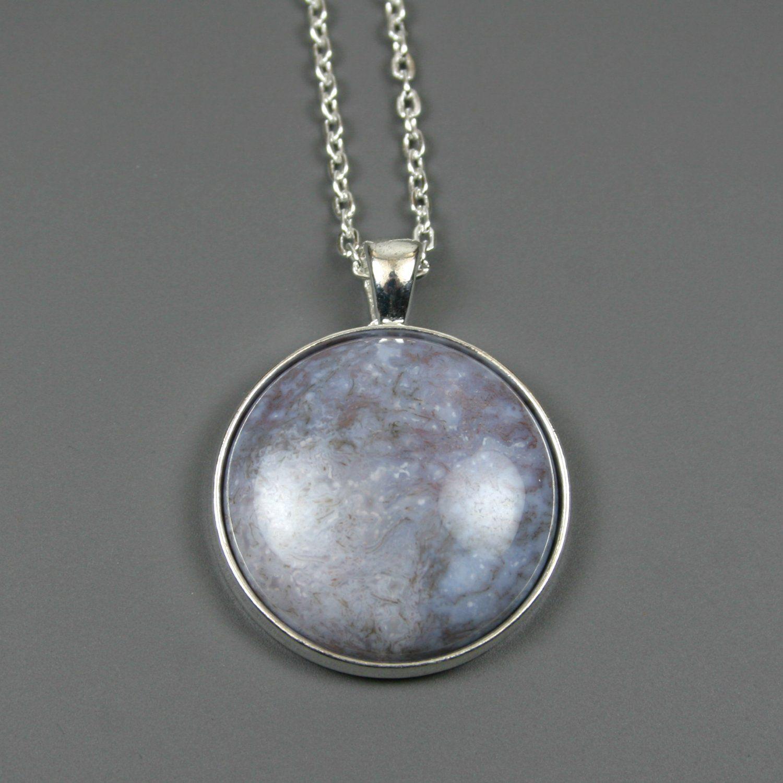 Pale lavender fancy jasper stone pendant in silver plated bezel