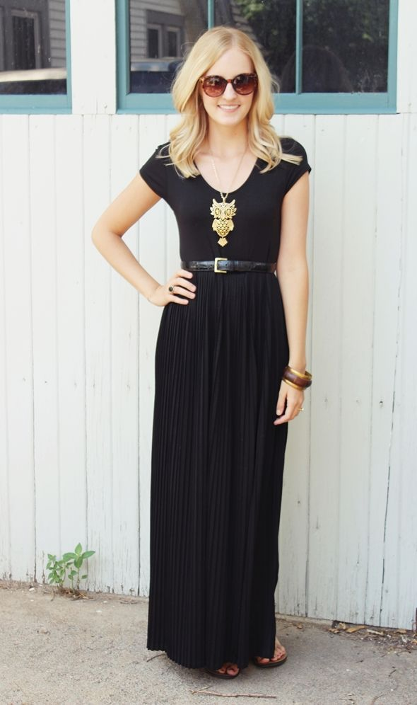 black pleated maxi skirt vintage owl necklace sunnies