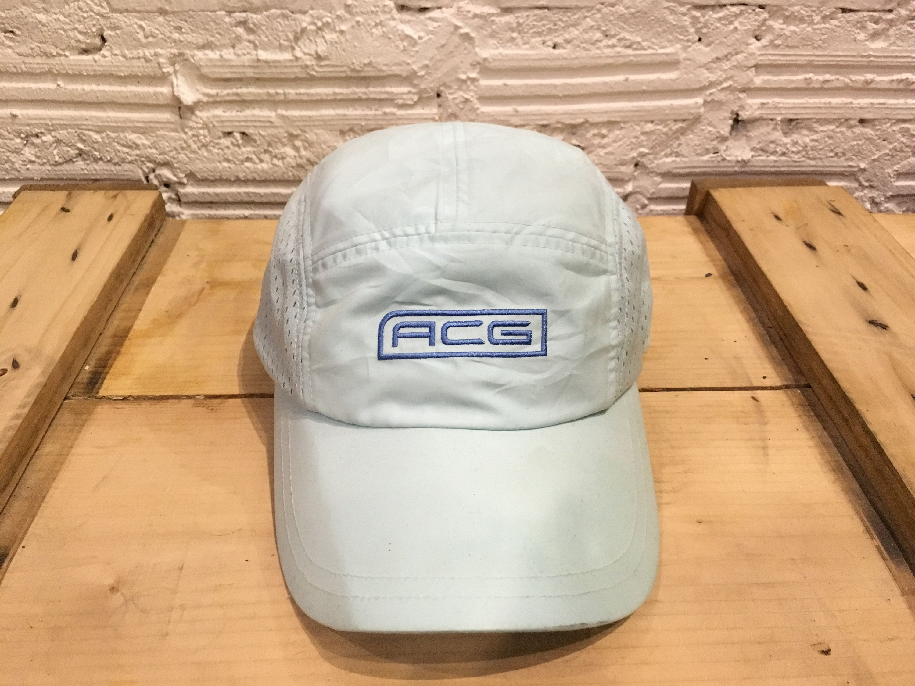 f78083dda07 Vintage Nike ACG camp cap mesh nylon hat ACG box logo Neon light Blue Good  condition Nike all conditions gear by AlivevintageShop on Etsy