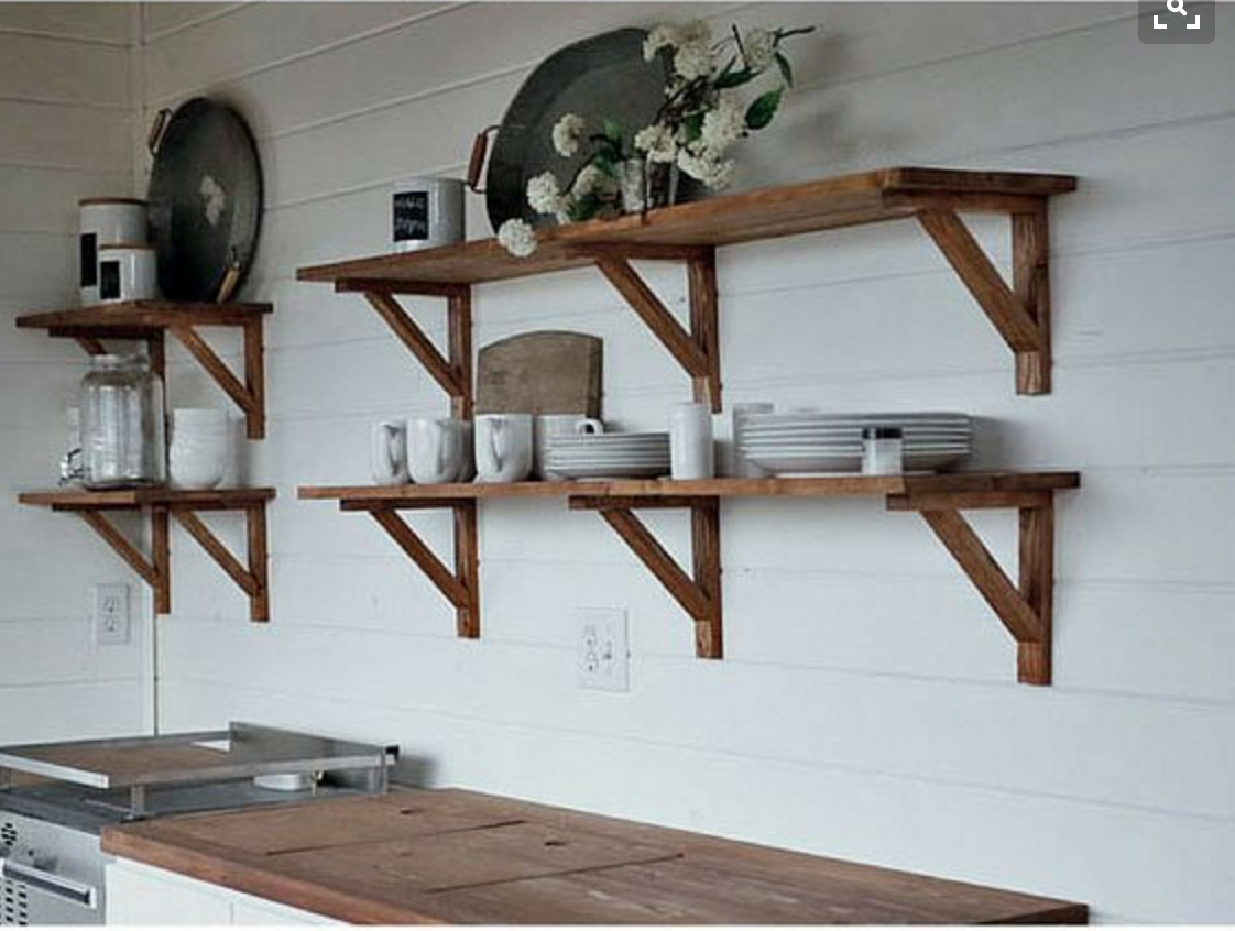 open wood shelves with white walls + cabinets | Ulysses St ...