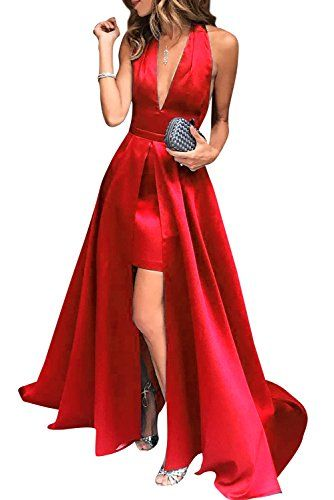 Weddder Prom Dresses 2018 High-Low Halter V-Neck Open Bac... https ...